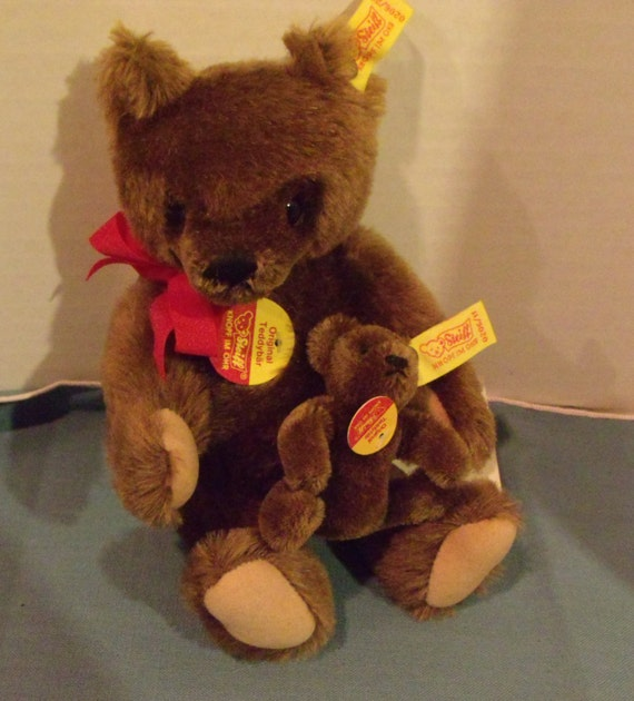 Steiff Bears-Dark Brown Mama Bear Holding Baby Bear in arms