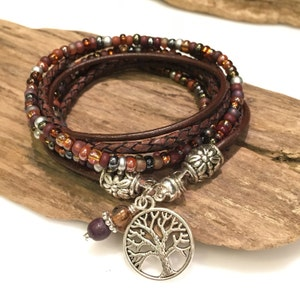 Bracelet, Top Seller! Boho Wrap Bracelet, Leather Bracelet, Leather Beaded Wrap, Bohemian Style, Charm Bracelet, Burgundy, Plum, Brown
