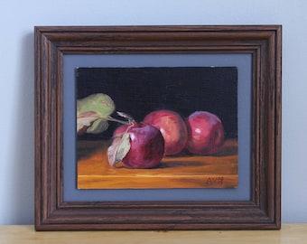 Red Apples Painting, Framed Kitchen Art by Aleksey Vaynshteyn