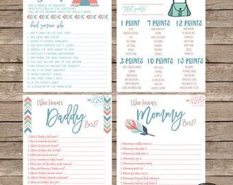 Tribal Baby Shower Game Suite (4 total games) Pink and Blue Version - DIY Printing - Instant Download
