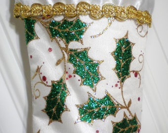 White Christmas Stocking with Glittery Holly