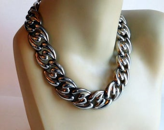 Vintage Silver Plate Wide Puffy-Link Chain Necklace - Silvertone Chunky Chain - Silver Plate Chain - Runway Jewelry - Statement Necklace