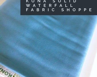 Kona cotton solid quilt fabric, Kona WATERFALL 1866, Solid fabric Yardage, Kaufman, Quilting Cotton fabric, Choose the cut
