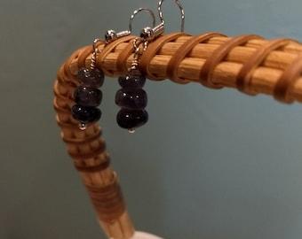 Tanzanite stacked earrings