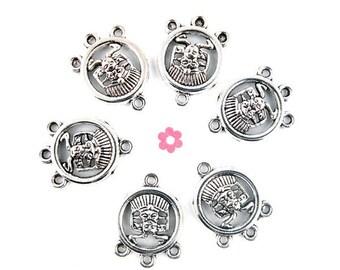 x 6 pendants connectors antiqued silver round Aztec 23x16mm (26 d)