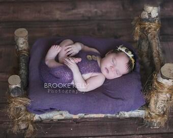 Purple Mohair Button Overalls Pants Newborn Photography Prop