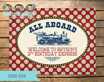 Personalized Vintage Train Party Door Sign