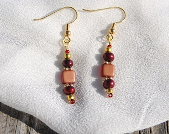 Red and Gold Beaded Earrings