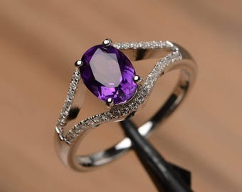 natural amethyst ring engagement anniversary ring sterling silver oval cut gemstone February birthstone ring