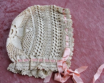 SWEET Vintage Lace Baby Bonnet, Hand Crochet Lace, Interesting Lace Pattern,Perfect For Baby, French Bebe Dolls,Teddy Bears, Baby Shower