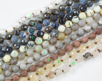 Long Knotted - Preknotted Necklace-  Assorted Gemstones 8mm- 36 inches Long- Ready to wear- Long Necklace