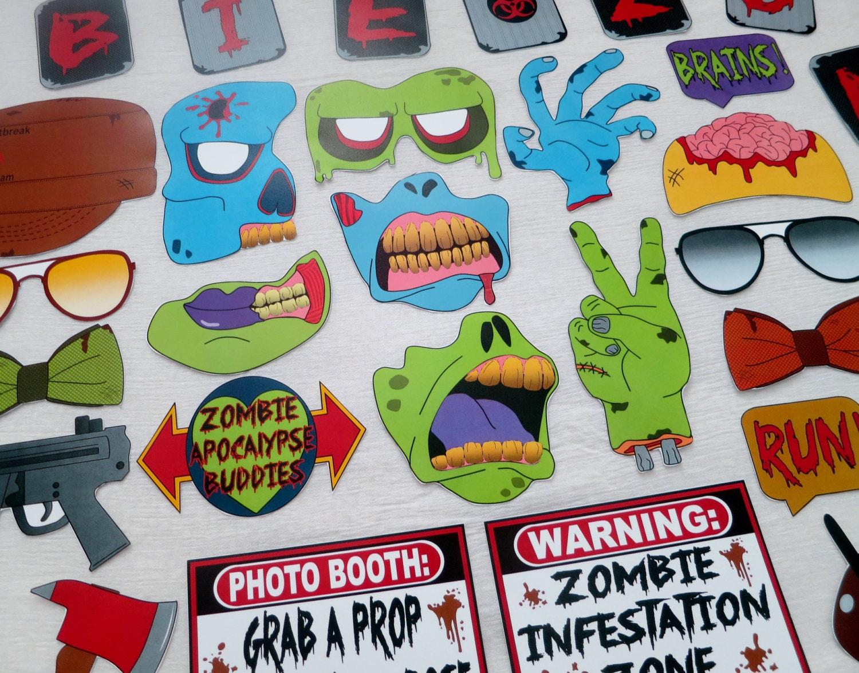 PDF Zombie Apocalypse Photo Booth Props PRINTABLE / DIY