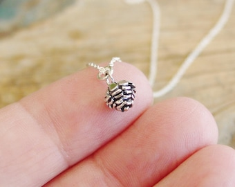 Pinecone Charm Necklace, Sterling Silver Necklace, Minimalist, Everyday, Woodland Jewelry, Nature Gift, Outdoor Jewelry, Pinecone Pendant