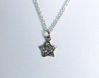 Sterne in massivem Sterling silber & Kette - umweltfreundlich - 11 Swarovski Aquamarin Farbe facettierte Steine-Halskette Anhänger 10mm bereit Mail