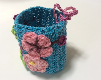 Crocheted, Sewn and Embroidered Spring Cuff