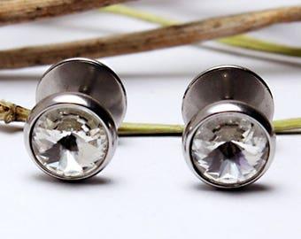 Earrings fake plug Fakeplugs Rivoli stone Men