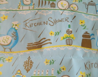 Kitchen Shower wrapping paper / vintage wrapping paper sheets / housewarming wrapping paper