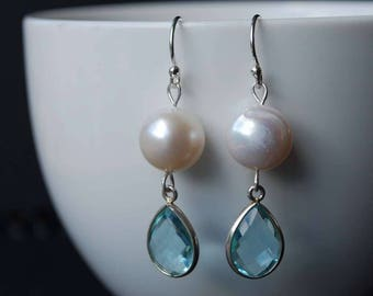 Classic Freshwater Pearl and Topaz French Hook Earrings, Simple Elegant Design, Sterling Silver French Ear Hooks