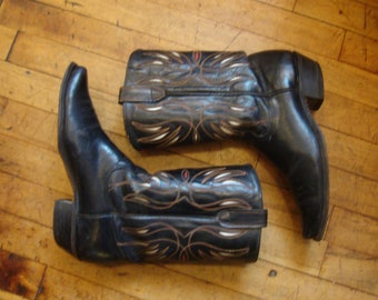 Vintage Acme Black Leather Western Cowboy Boots with Inlaid Color * Size 9-10