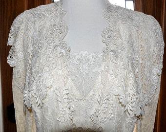 Vintage Ivory Lorrie Kabala Lace Suit, Lace Skirt & Jacket, Ivory Lace Bridal Suit, 3 Piece Lace Suit, Vintage Lace Suit, Mother of Bride