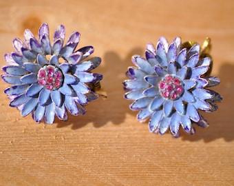 Vintage Blue Purple Metal Enamel Flower Clip On Earrings // Pink Rhinestone Flowers Earrings