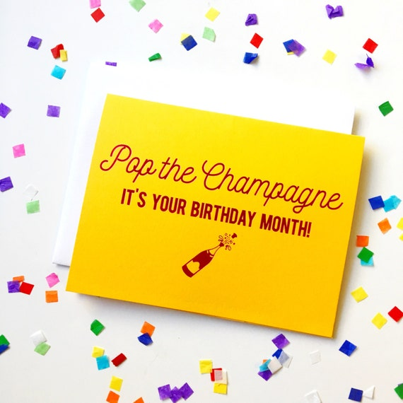Foil stamped birthday card, pop the champagne, birthday month greeting card, snail mail, funny birthday card, shiny pink foil