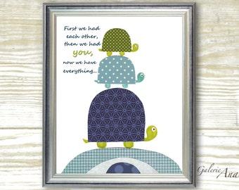 Baby nursery art - baby nursery decor - nursery wall art - Kids art - nursery turtle - kids room decor - First we had each other print