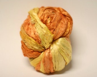 Silk Pure Roving Mulberry Hand Dyed Painted Cultivated Top Marigold 3-6