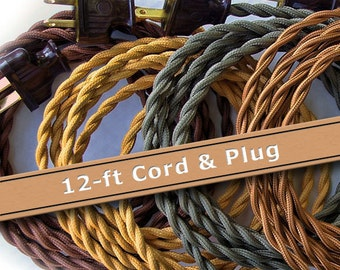 Pendant Light Cord - 12ft - Cloth Covered Wire - Vintage Style Lamp Wire - Pendant Light Wire