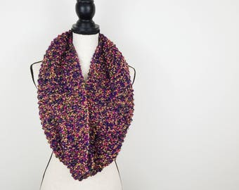Hand Knit Infinity Scarf Bright Multicolor Cowl
