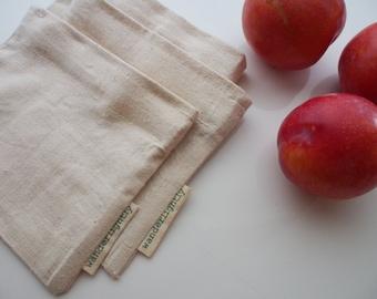 Set of 3 - Reusable Small Snack sacks  - Hemp & Organic Cotton