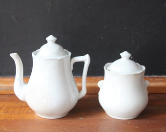 Antique Child's Ironstone Tea Set, Teapot & Sugar Bowl, Special Baby Gift