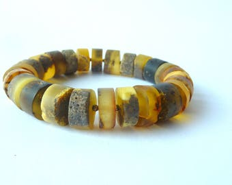 Amber Bracelet .Baltic Amber Jewelry. Matte Brown Yellow Gray Honey Amber Bracelet. Elastic Bracelet for Him & for Her Matte Amber