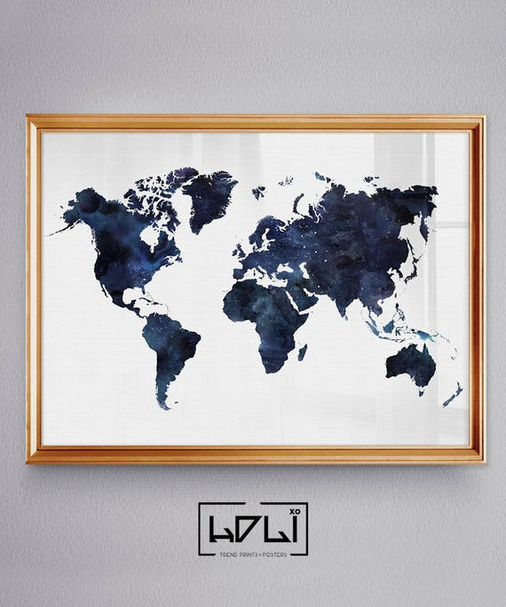 Large world map print watercolor world map poster art navy large world map print watercolor world map poster art navy blue wall art printable world map world travel map of the world digital map gumiabroncs Choice Image