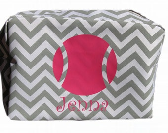 Tennis monogrammed cosmetic bag, personalized tennis team gifts, preppy tennis gifts, sports team gifts,
