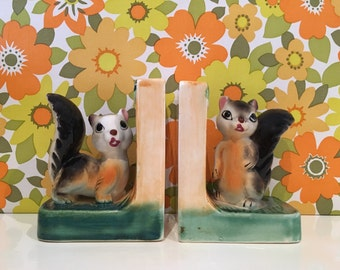Vintage Squirrel China Bookends Kitsch Cute Kawaii