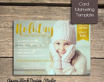 Holiday Mini Session - Photoshop Marketing Template - INSTANT DOWNLOAD