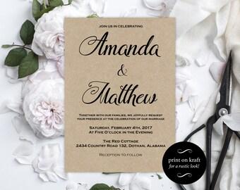 Printable Wedding Invitations -  Kraft Wedding Invitation - Editable Wedding Invitation - Editable Text - Downloadable Wedding #WDH0178