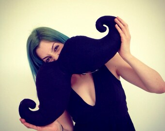 "Big shaped handmade moustache pillow / cushion. Home decor. Movember. Black felt.""Shaved"" to perfection."