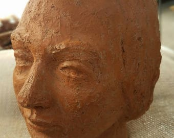 Mid Century Terracotta Bust, Terracotta Art, Sculpture Art, Home Decor, Art Pottery, Brutalist Art, Brutalist Pottery