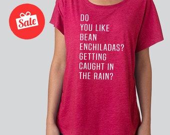 Do you like Bean Enchiladas Getting Caught in the Rain Slouchy Dolman Shirt. Off the Shoulder Shirt. Funny Shirt. Enchilada shirt.