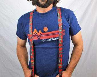 Vintage 1980s Paisley Formal Skinny Suspenders Braces