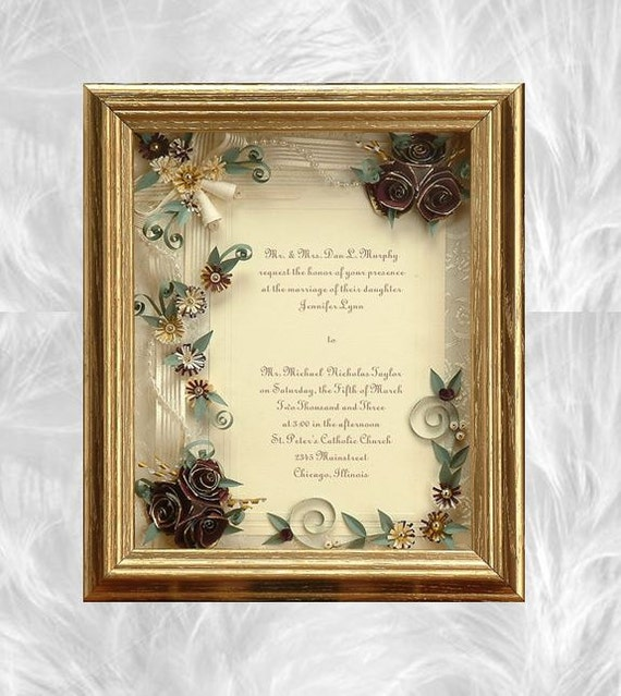 Framed Wedding Invitation Framed Wedding Gift Gold Wedding