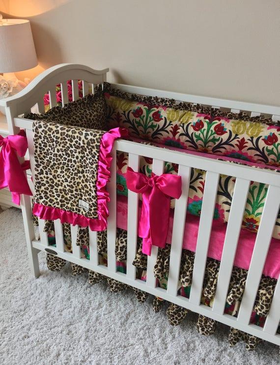 Fancy Damask Bedding Sets for Baby Girl Hot Pink Crib Set