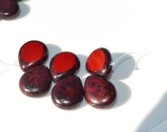 Picasso Red Czech Glass 16mm Briolette Beads  4