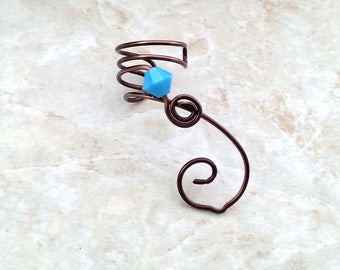 Brown & Turquoise Ear Cuff  No Piercing Swarovski Crystal Single or Pair Ear Vine Climber