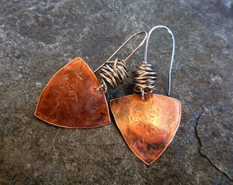 Mixed metal earrings, Hypoallergenic earrings, Textured copper earrings, Boho earrings, Artisan jewelry, Ethnic earrings