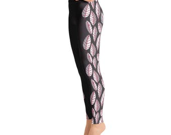 Beautiful trend-forward grey, light grey and wine leaves down the sides on black hand-drawn pattern on gorgeous Yoga Leggings