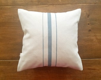 clearance / gray grainsack pillow / striped / sale / 12x12