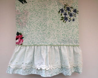 Vintage Floral Twin Flat Sheet by Westpoint Stevens - Mint Green Blue Pink Yellow Flowers Eyelet Hem - Country Cottage - Vintage Bedding